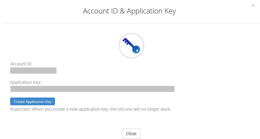 backblaze - Account ID and Application Key