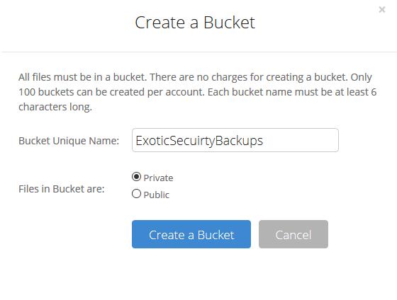 backblaze - Create Bucket