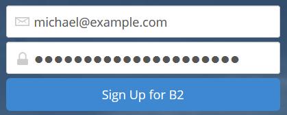Sign up to backblaze - password