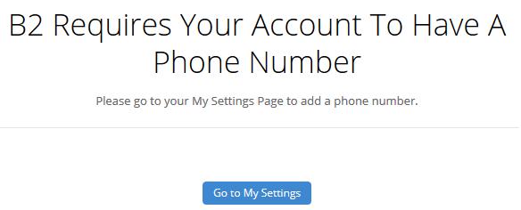 Sign up to backblaze - phone