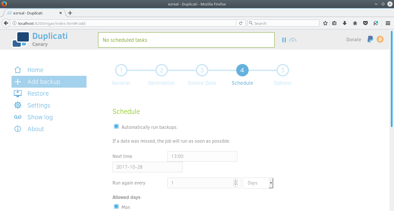 Duplicati Arch Setup Schedule