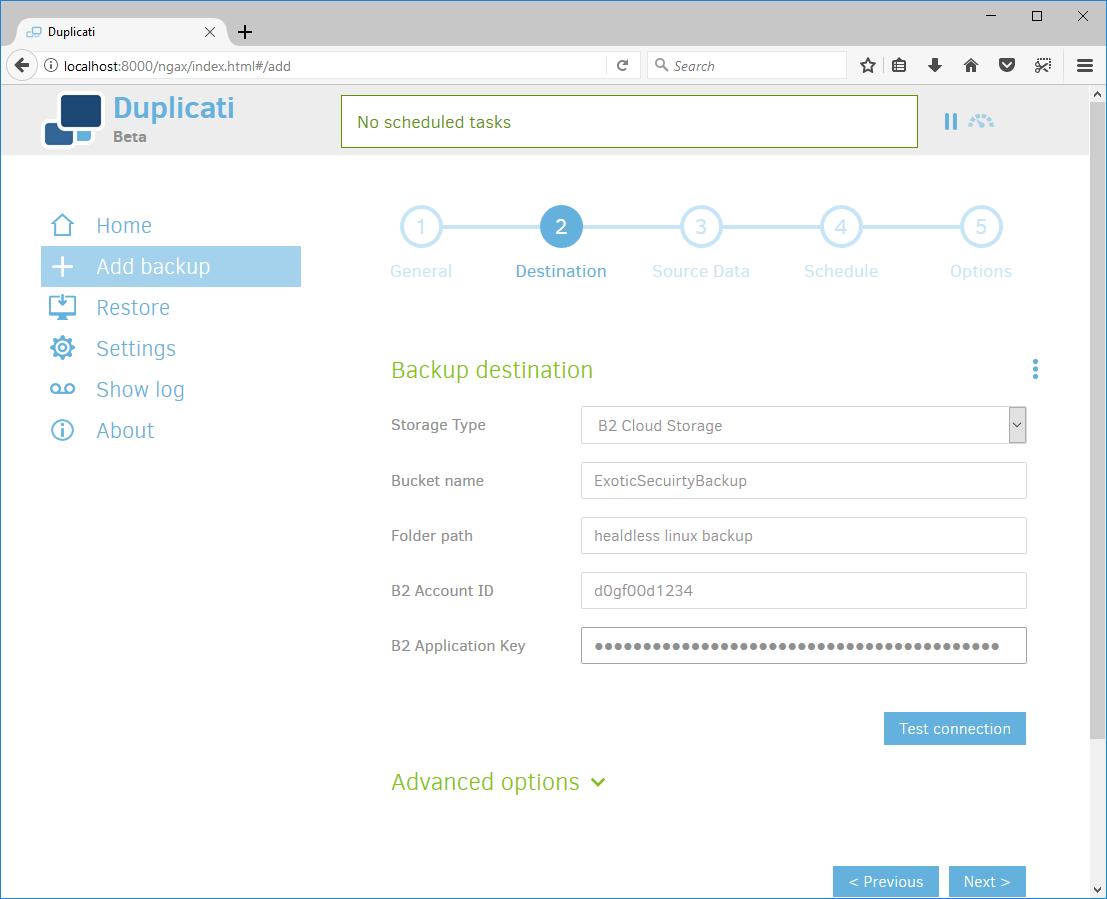 Duplicati Debian Setup Destination