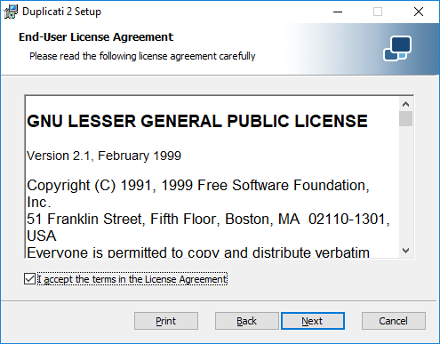 Duplicati Windows License
