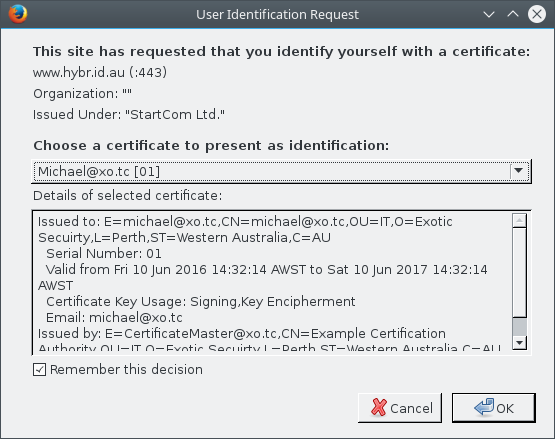 Firefox Certificate Prompt