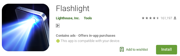 Flashlight with ads