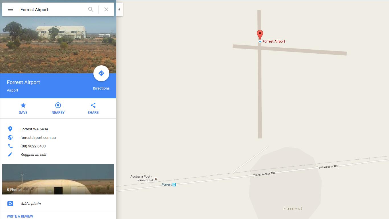 Google Maps - Forrest Air Port