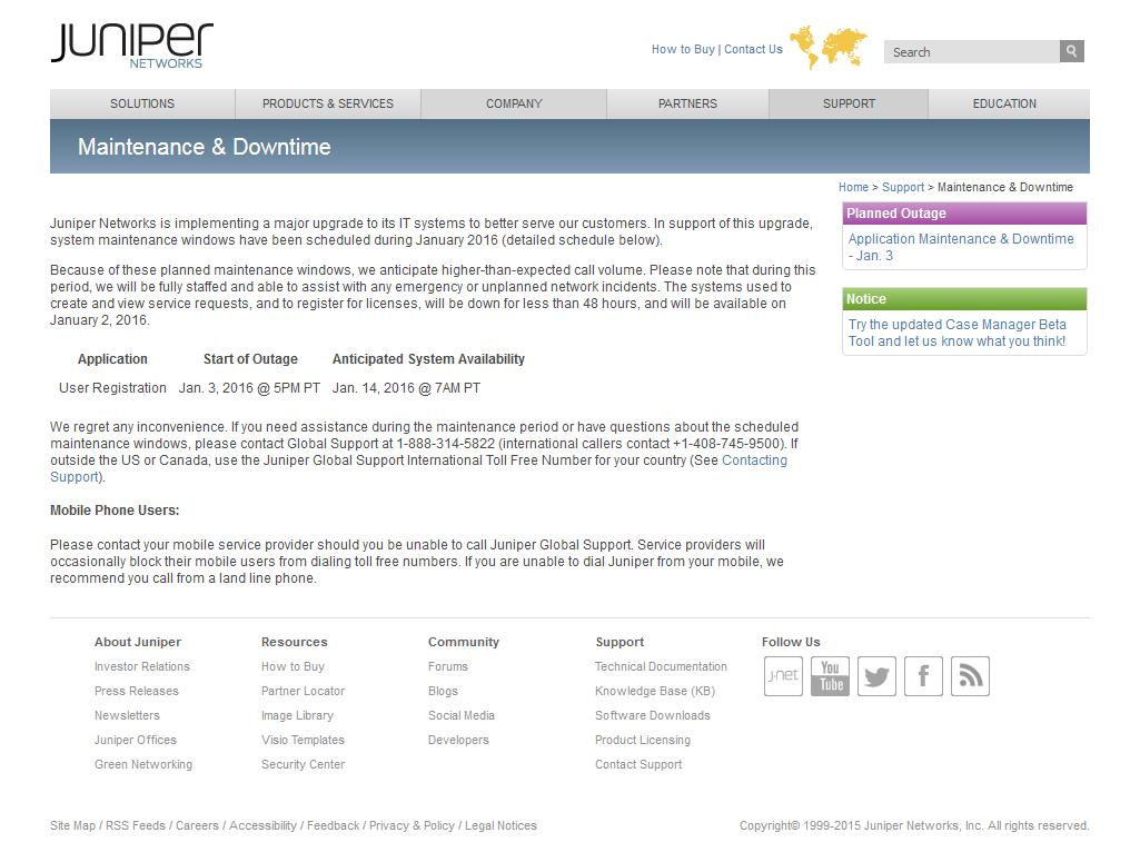Juniper Maintenance Screen