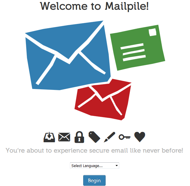 Mailpile first welcome screen