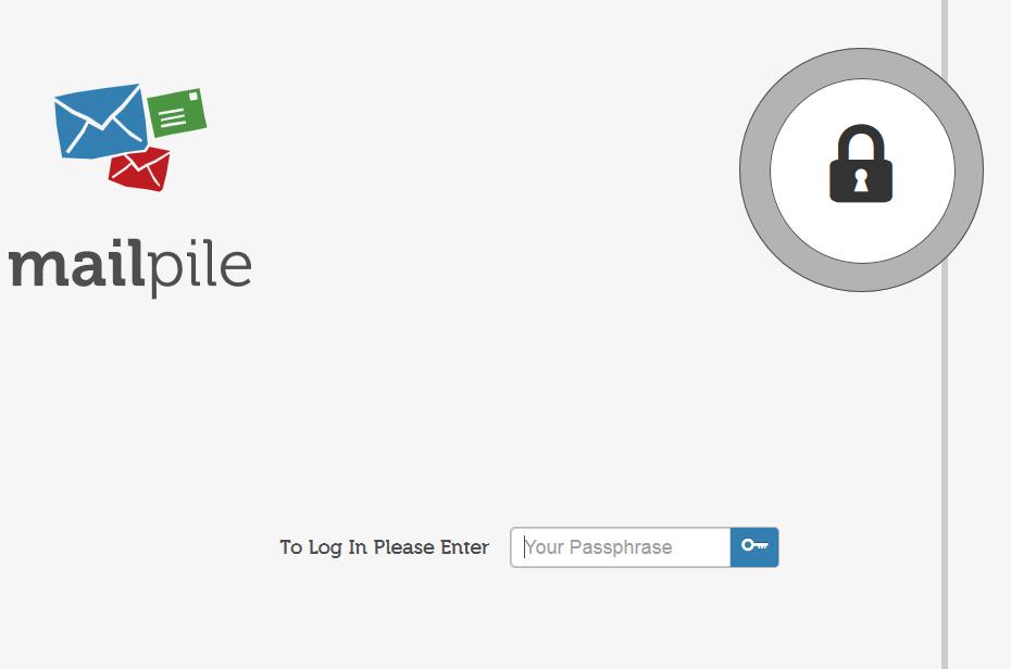 Mailpile Login screen