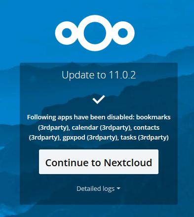 finish Nexcloud update