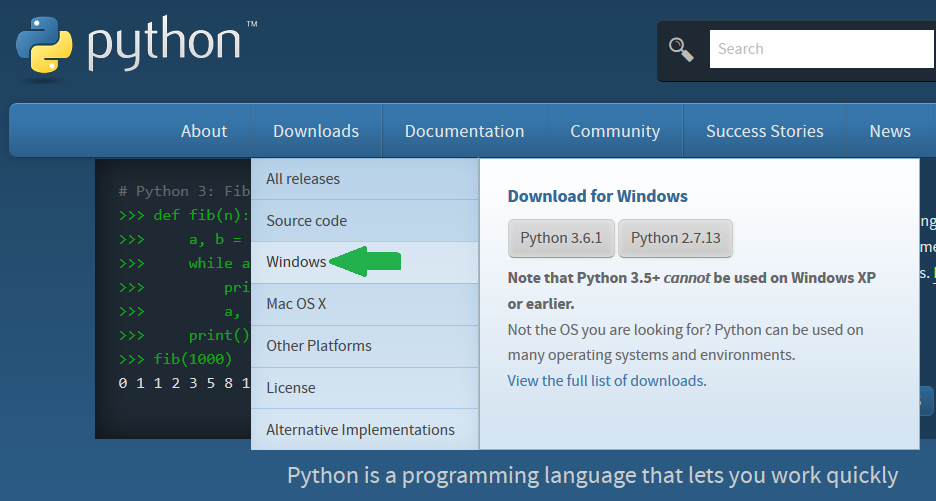 Python Downloads Windows