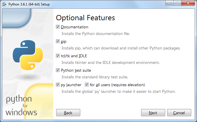 Python optional features