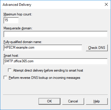 SMTP Virtual Server - Outbound Connections