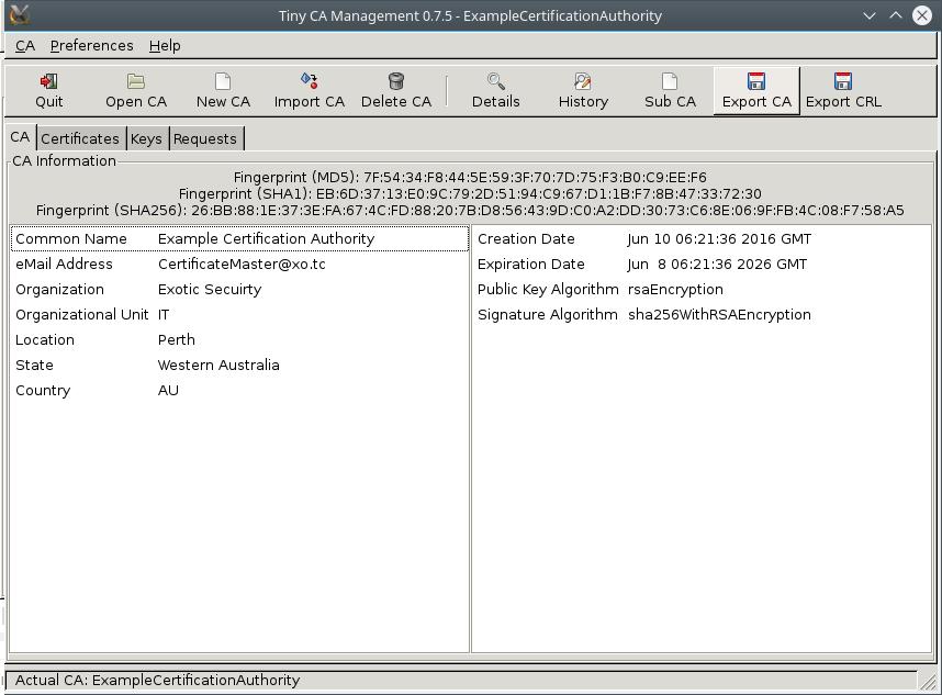 TinyCA Export Server