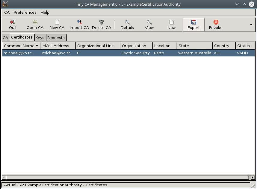 TinyCA Export Client