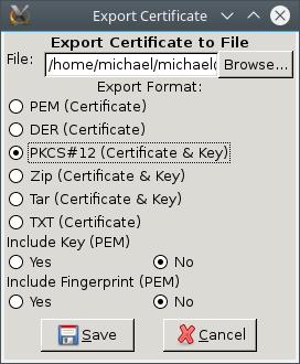 TinyCA Export p12
